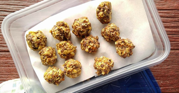 Store the no bake peanut butter energy bites in the fridge in a sealed container