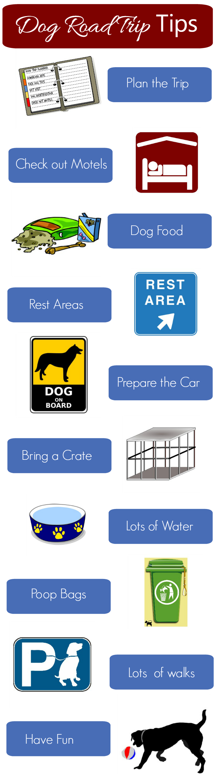 Are you planning on taking a road trip with your dog? Thsi dog road trip 101 printable graphic should help you to be ready for the trip.. #RoadTripClose #DENTASTIX #ad