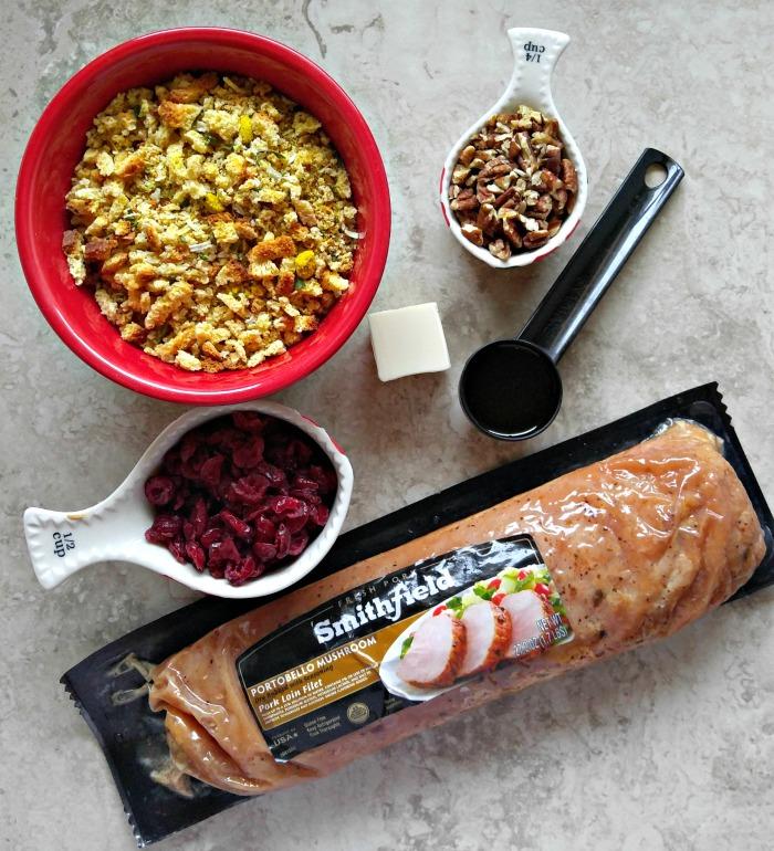 Ingredients for cranberry stuffed pork tenderloin