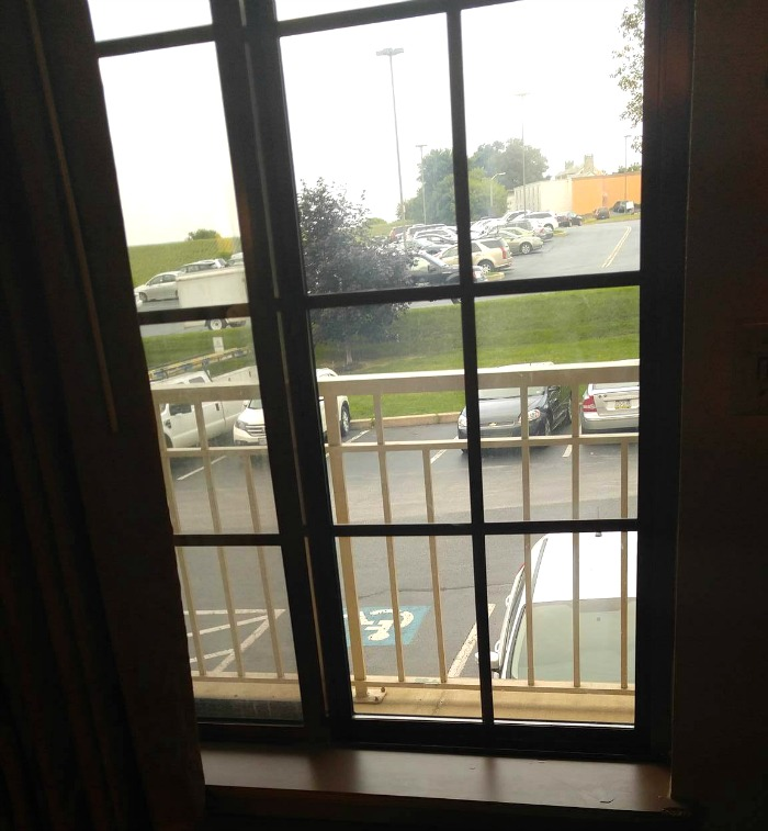 A window in the motel room lets your dog see you coming and going with luggage.