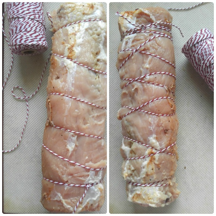 Use butcher string to tie the rolled pork,