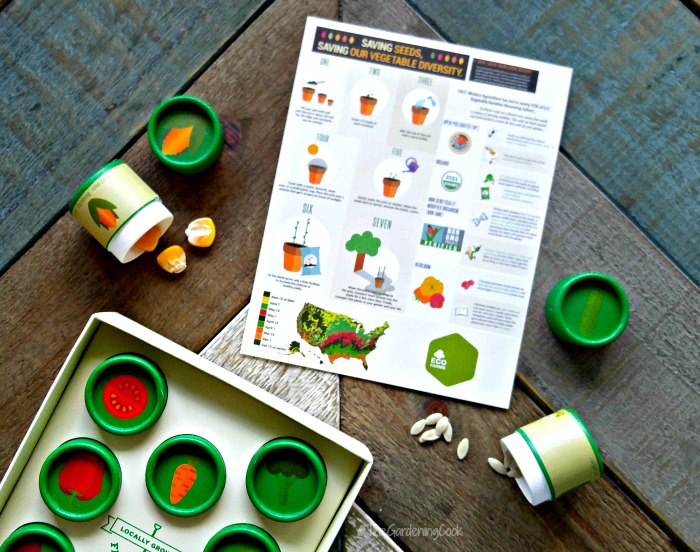 Seeds from the EcoFarms Heirloom seeds kit plus a planting guide