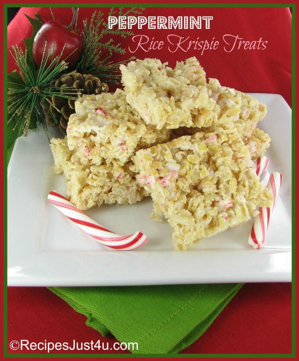 These peppermint Rice Krispie treat bars are perfect for the holidays.