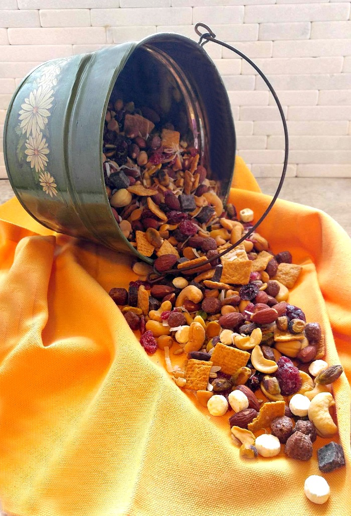 S'mores trail mix in a sunflower tin
