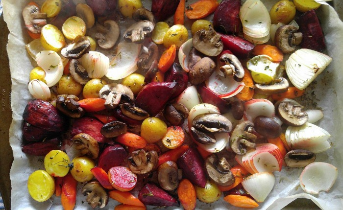 This roasted root vegetable medley makes the perfect side dish for fall meals.