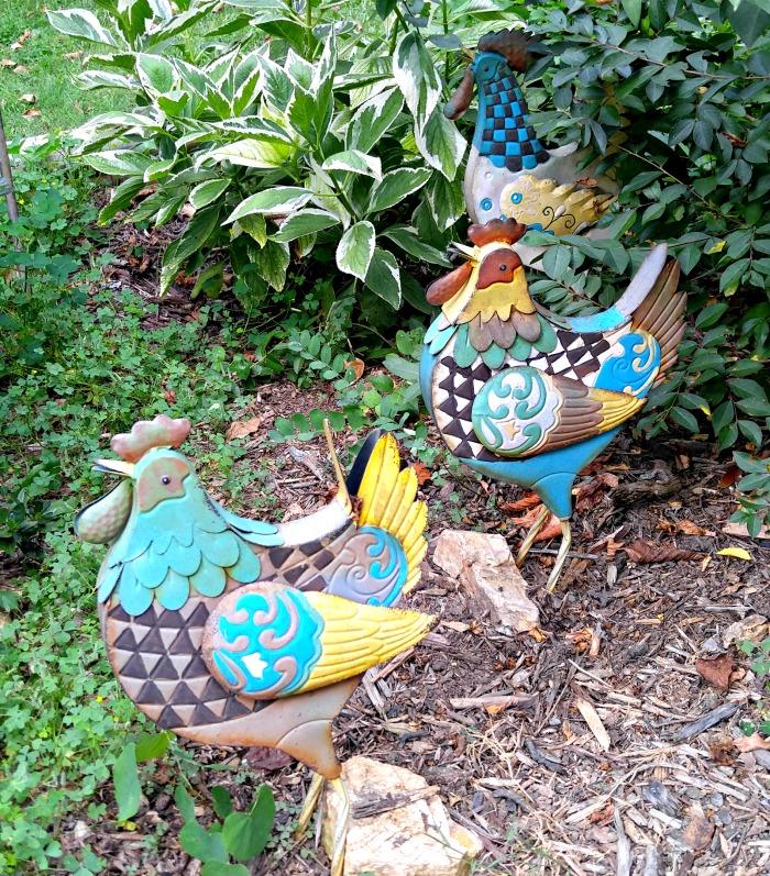 Metal chicken yard art