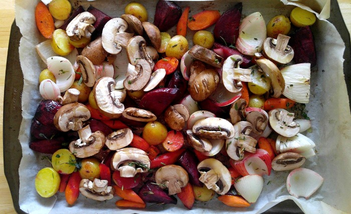 add sliced mushrooms to the roasted root vegetable medley just before they are done