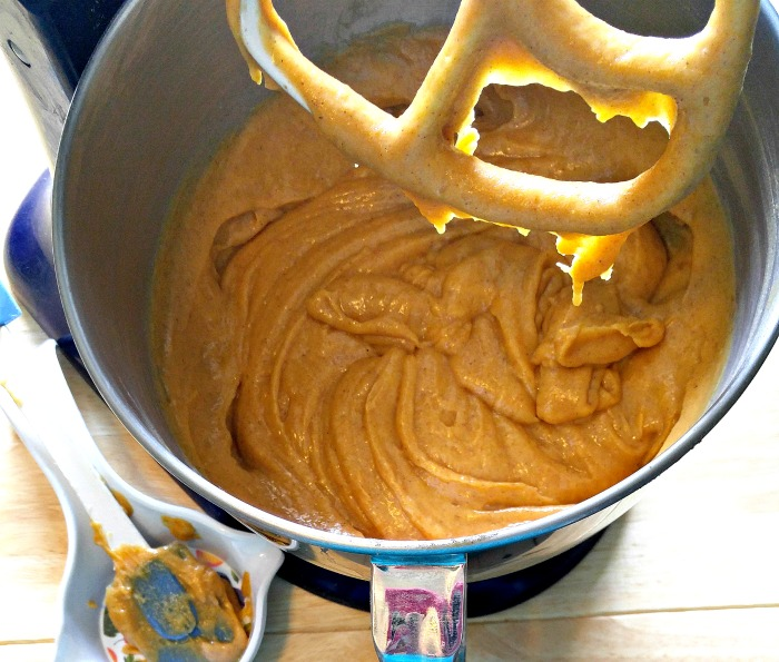 Batter for Pumpkin Cake with Toasted Coconut Frosting