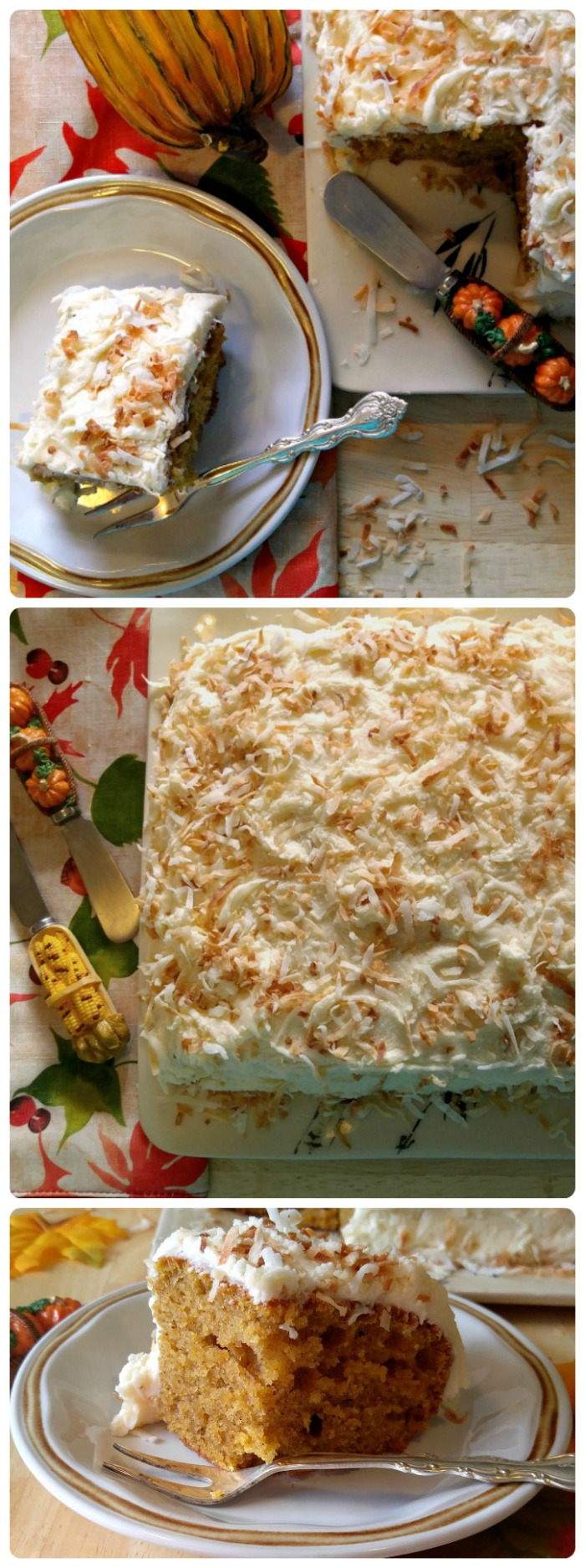 This pumpkin cake will be the hit of your Thanksgiving celebration. It is moist and light and full of the flavor of autumn. The crunchy toasted coconut frosting adds a delicious touch. #BobsHolidayCheer #ad