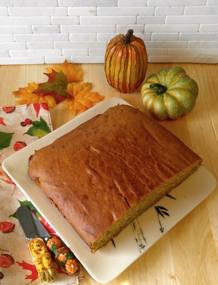 My pumpkin cake is ready to ice.