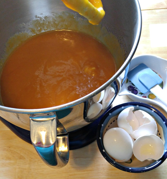 Wet ingredients for Pumpkin Cake with Toasted Coconut Frosting