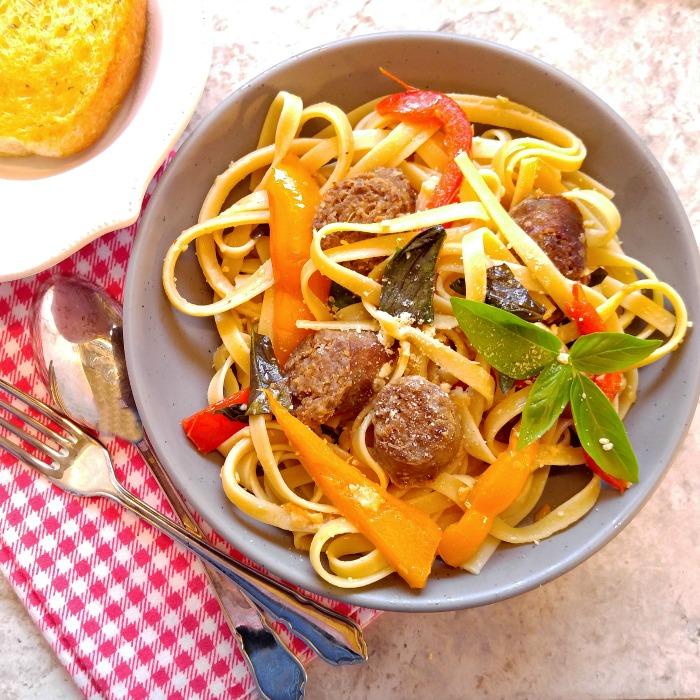 Sausage Garlic Parmesan Pasta