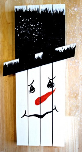 This cute snowman wall hanging was made from a old kitchen door frame. He is easy to do and looks great hanging on a wall.