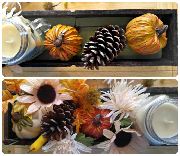 Add the pumpkins, and greenery to the centerpiece box.