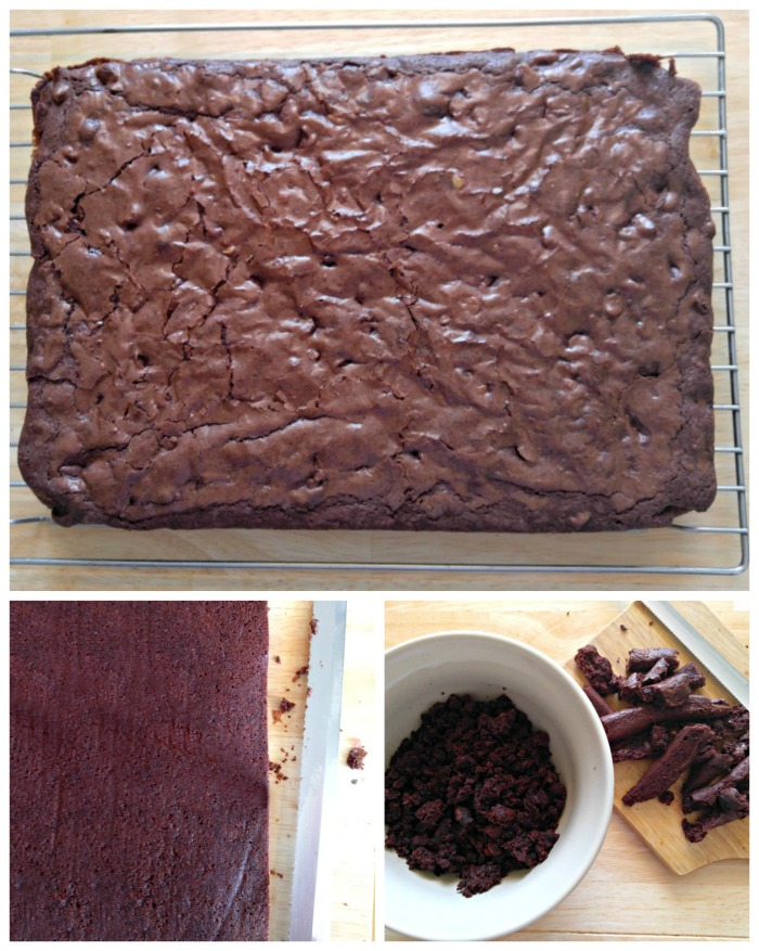Cooked and trimmed brownies