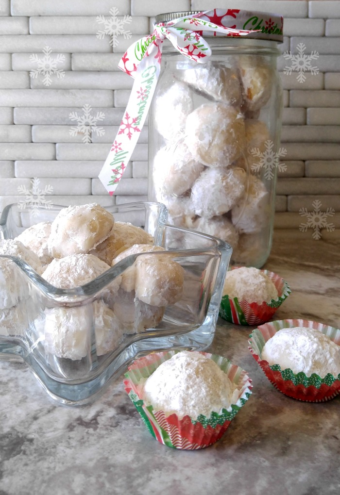 Lemon Snowball Cookies in a mason cookie jar