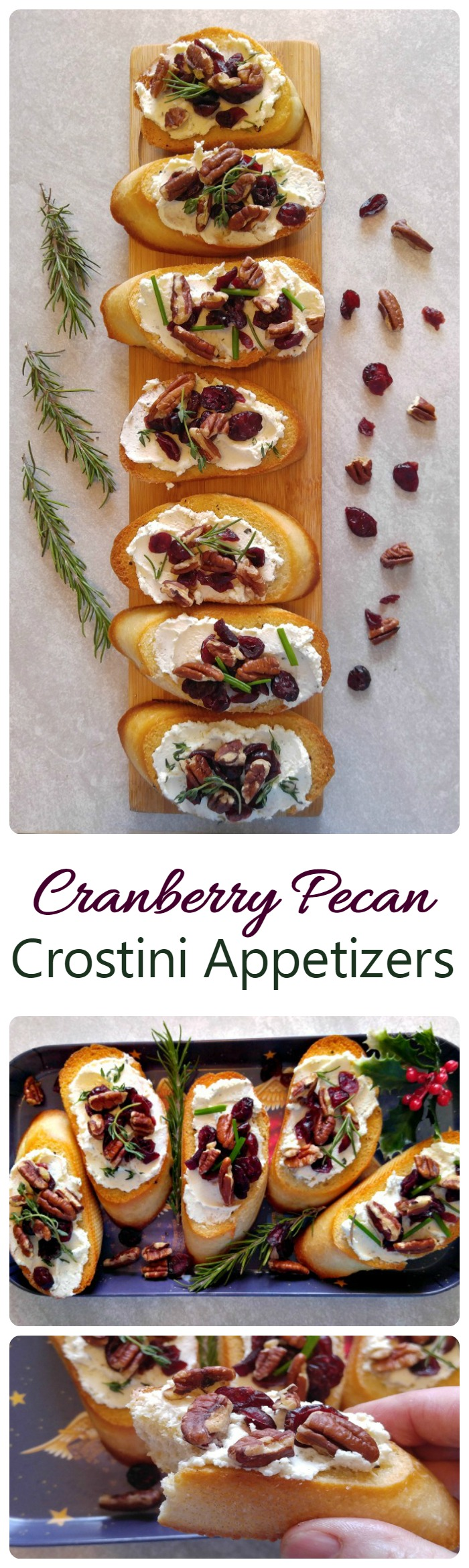 These cranberry pecan crostini appetizers are so easy to make and the cheese spread goes beautifully with the toppings. #ad #BoursinCheese