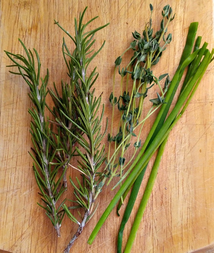 Fresh herbs for crostinis