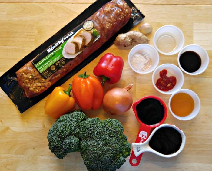 Ingredients for a 30 minute pork stir fry