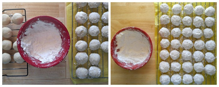 Roll the snowballs in powdered sugar when still warm and then roll again when they are cooled for the whitest coating.