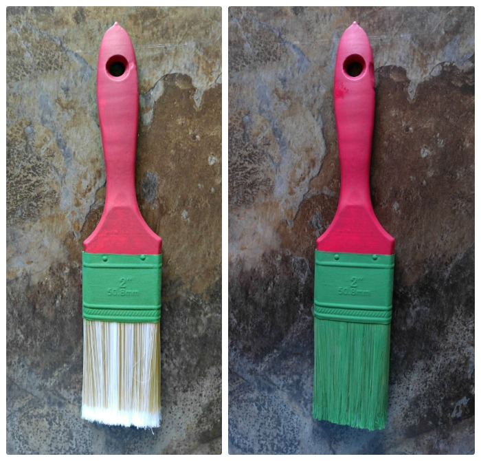 Painting the paintbrushes for the Grinch Paintbrush Ornament