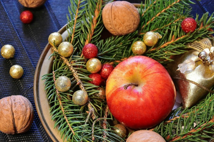 Add outdoor greenery to platters for an inexpensive way to add seasonal decor