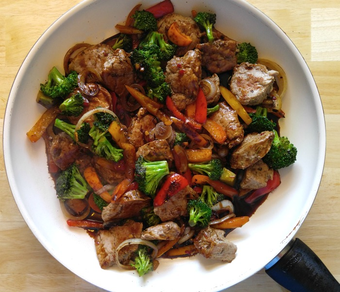 Add the sauce to the 30 minute pork stir fry