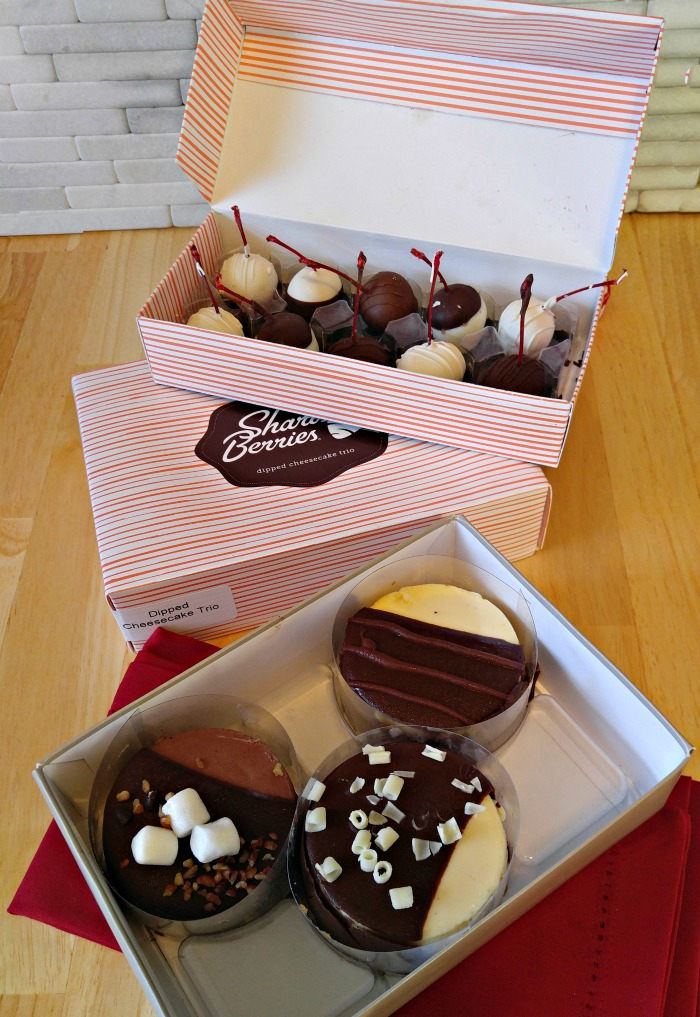 Shari's Berries offer cheesecakes and fruit that is dipped in chocolate.