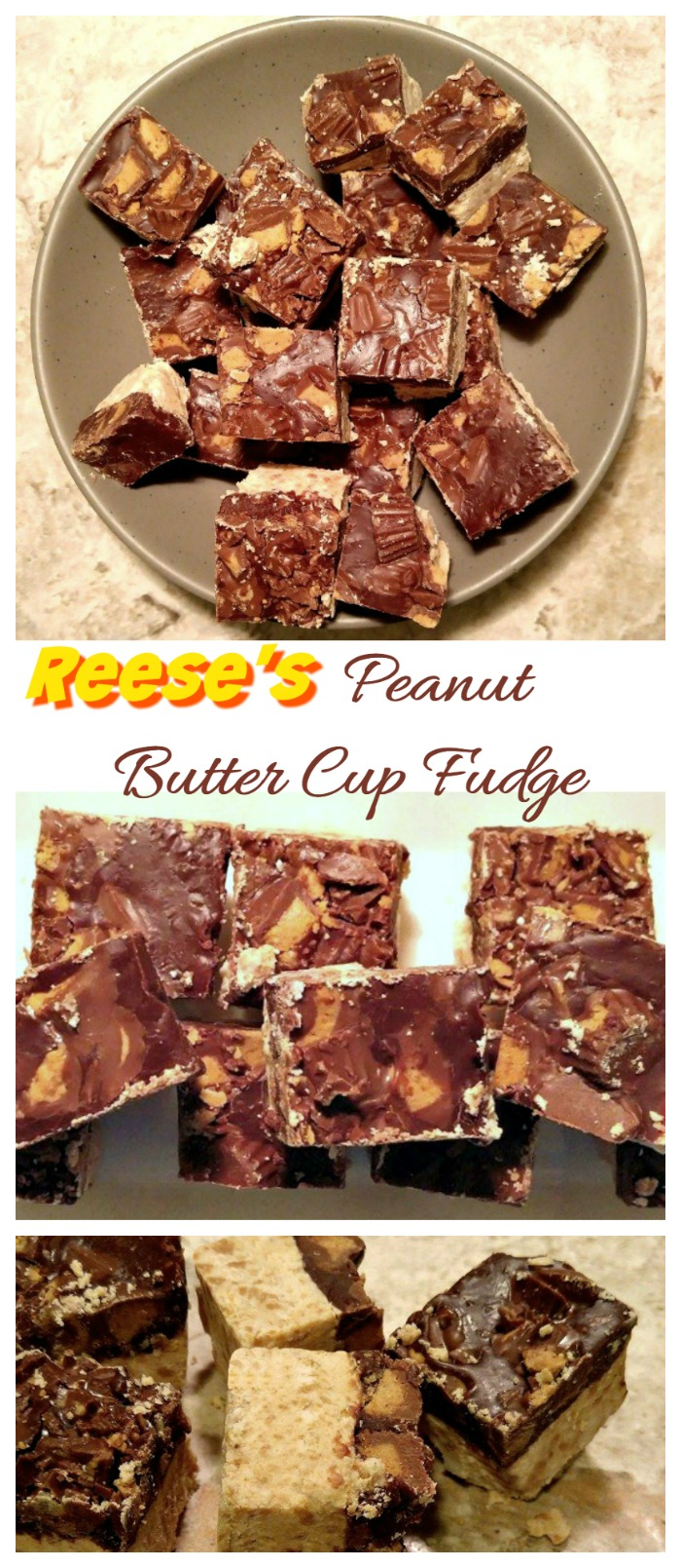 This Reese's peanut butter cup fudge has a crumbly bottom layer, a rich chocolate middle and chunks of Reese's peanut butter cups on the top. It is TO DIE FOR!