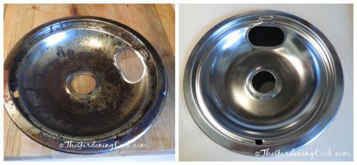 Cleaning burner drip pans is easy with one simple ingredient!