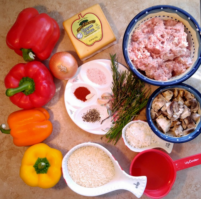 Ingredients for these Ground Turkey stuffed peppers