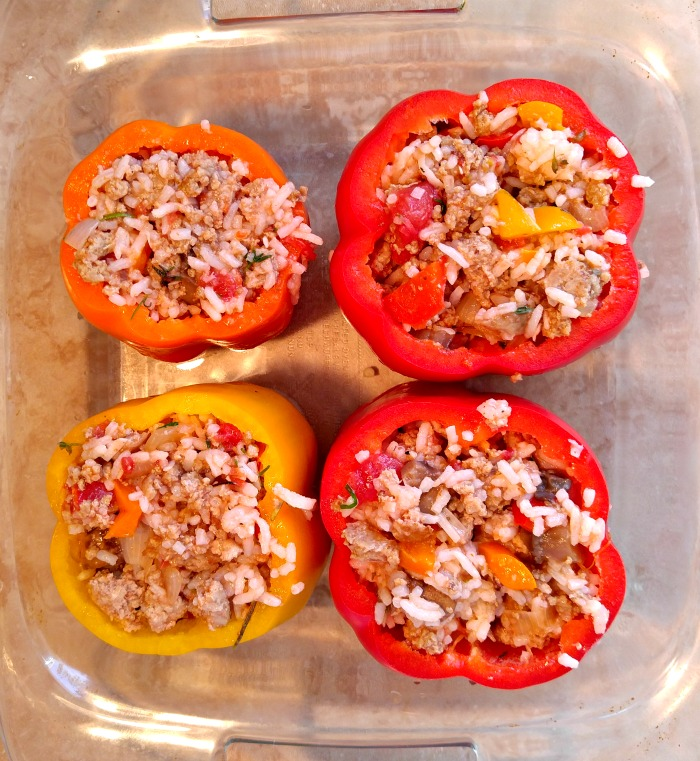 Add the filling mixture to the peppers