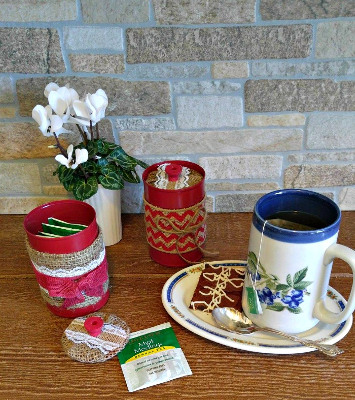 DIY Burlap Tea Bag Jars and a cup of tea