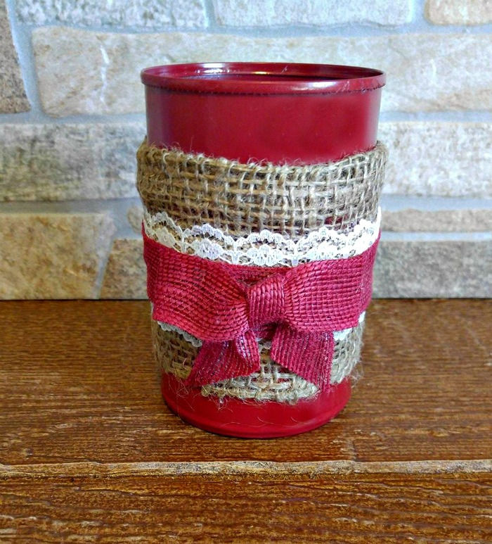 Burlap bow tea bag jar