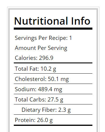 Nutritional info for the chicken cheese panini