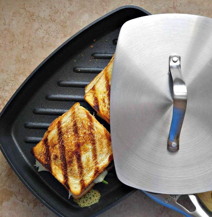 Chicken sandwich in the panini press
