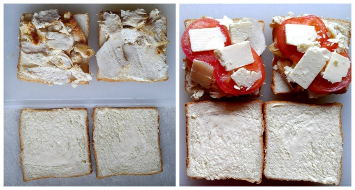 Butter the bread on one side and layer roasted chicken, fresh tomatoes and low fat cheese