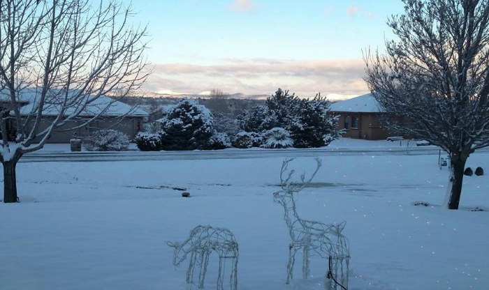 Snow covered scene in Chino Valley Arizona.