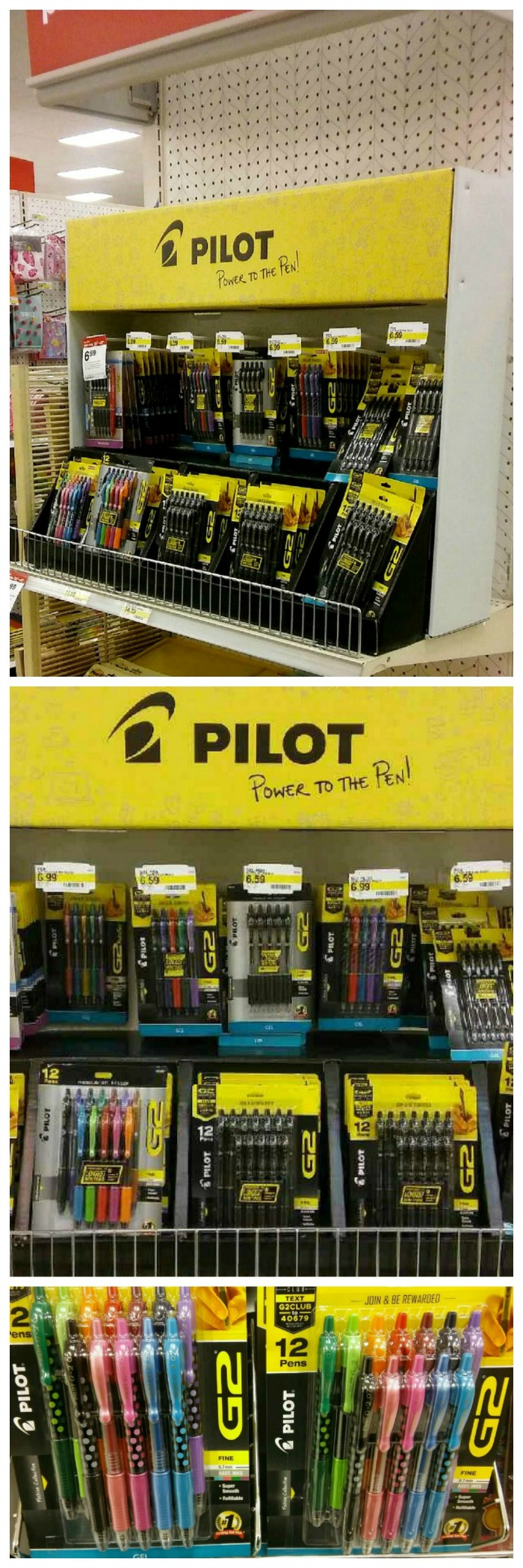 Target has a special Pilot G2 pens end cap display