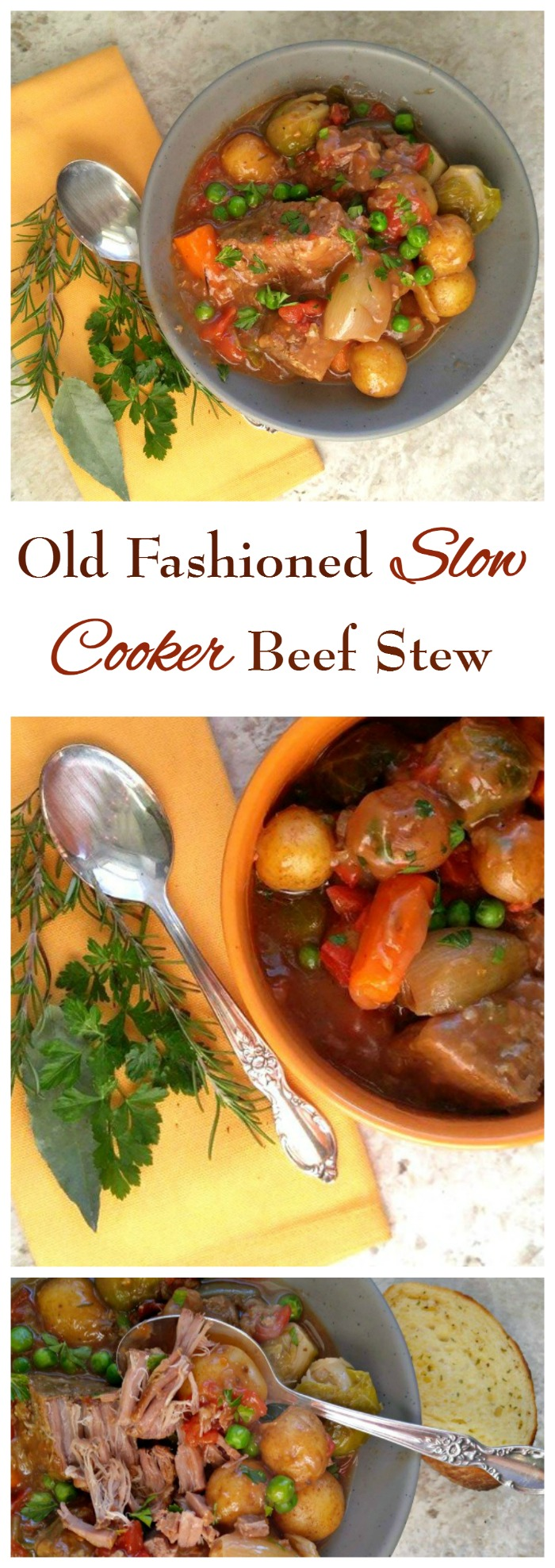 This fork tender old fashioned slow cooker beef stew is made just the way Momma made it! Rich and savory with big chunks of meat and vegetables are the ultimate comfort food.