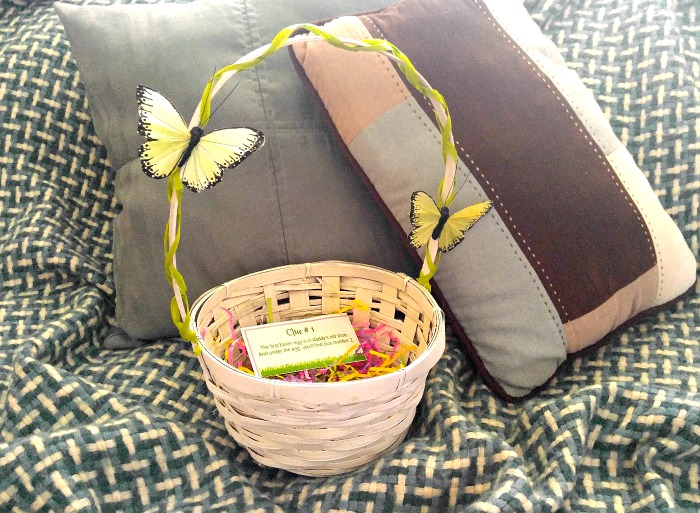 The Easter hunt starts on the bed with the first clue and the decorated basket