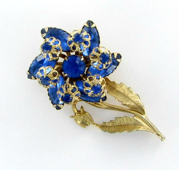 Royal blue rhinestone flower pin