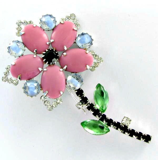 Mixed glass and rhinestone flower pin