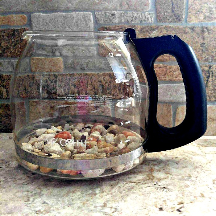 Add a layer of gravel in the bottom of the coffee pot