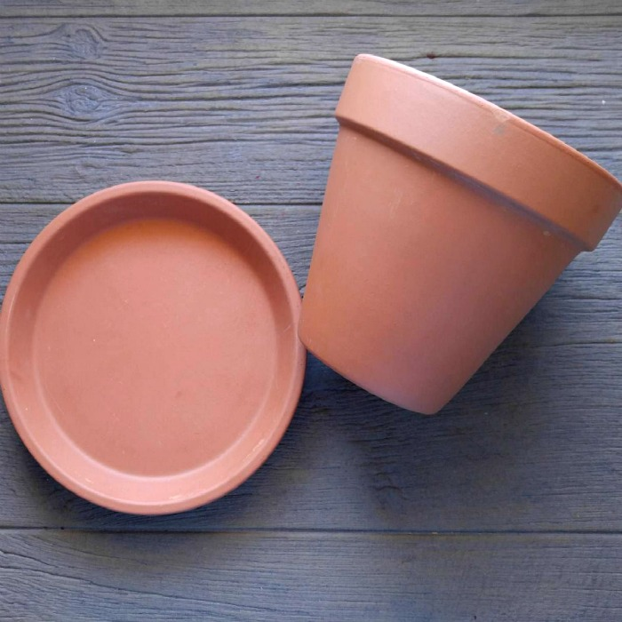 Clay pot and saucer