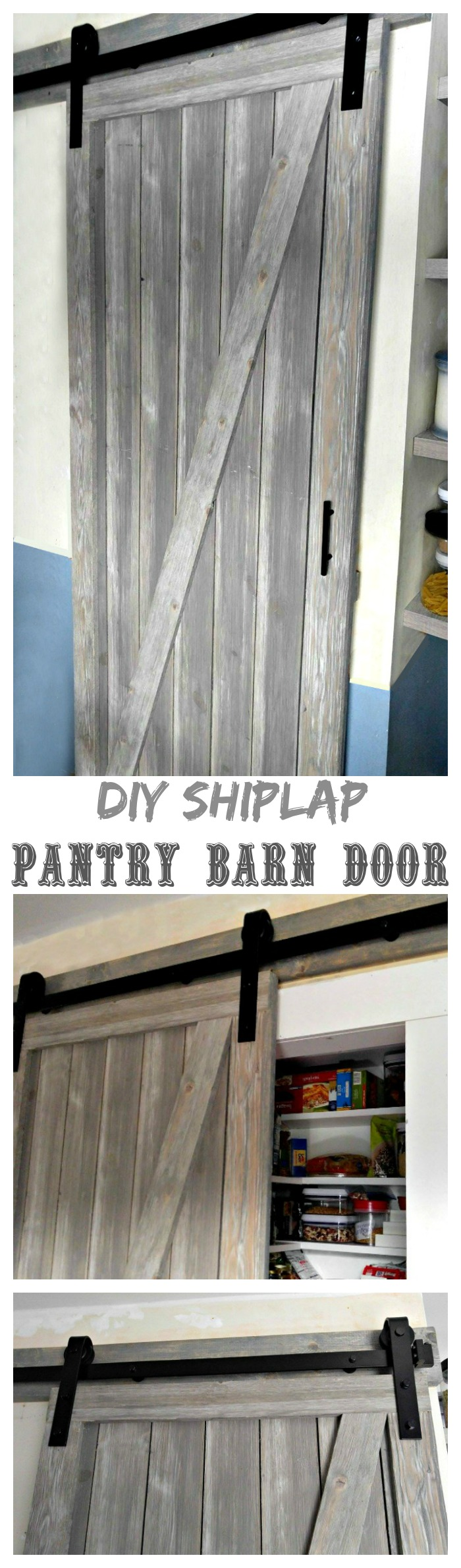 This DIY Shiplap Barn Door is the perfect way to add a decorative touch to my pantry and save lots of room in my tiny galley kitchen