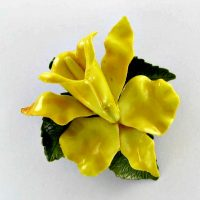 Yellow and green enamel lily flower pin