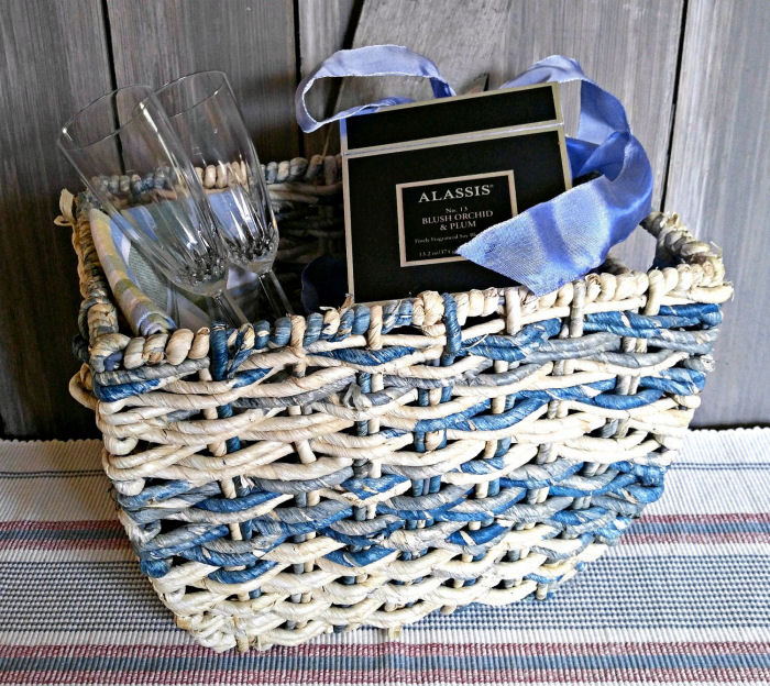 Candles and champagne flutes in a pretty basket makes the perfect anniversary gift