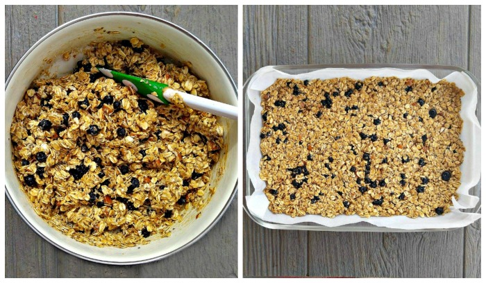 Press the mixture into a prepared baking dish