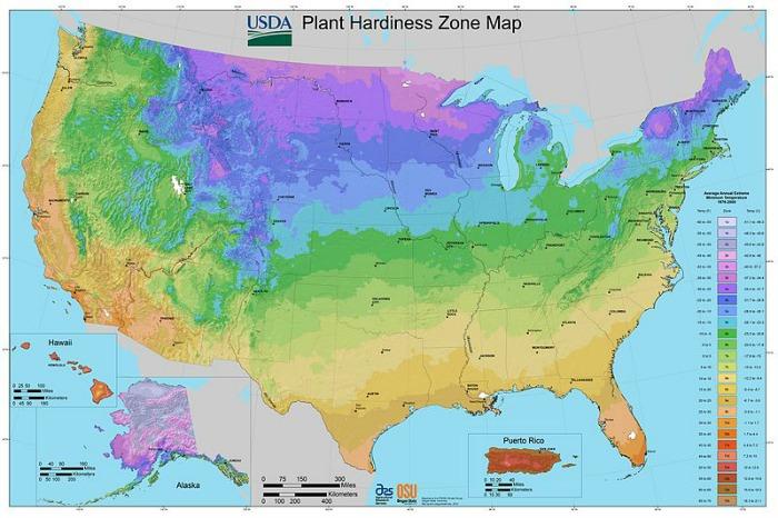 Cold hardiness zones
